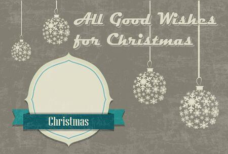 Vintage seasons greetings Christmas card with Christmas ball and snowflake