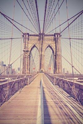 Canvas print Vintage toned photo of Brooklyn Bridge, NYC, USA.