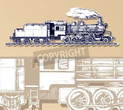 Canvas print vintage train.
