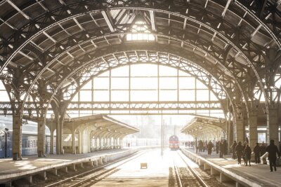 Canvas print Vintage train station with metal roof
