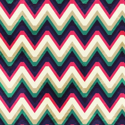 Canvas print vintage zigzag seamless pattern with grunge effect