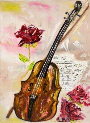 Canvas print Violin and roses