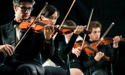Canvas print Violin orchestra performing