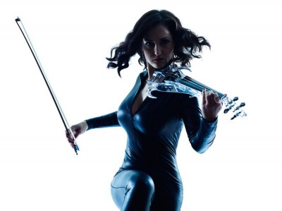 Canvas print Violinist woman slihouette isolated