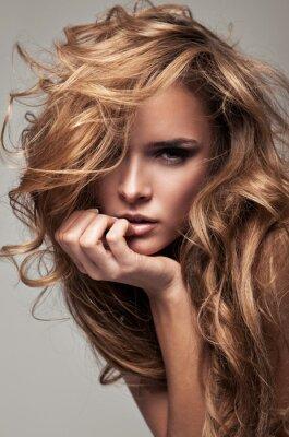 Canvas print Vogue style portrait of delicate blonde woman