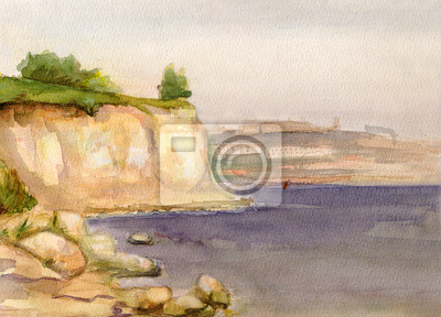 Canvas print Volga at coast Kamyshin