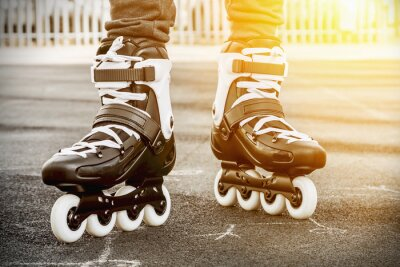 Canvas print walk on roller skates for skating