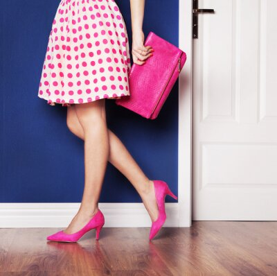 Canvas print Walking out concept, girl dressed in pink