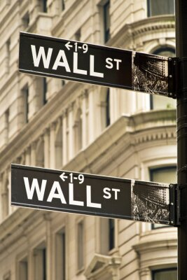 Canvas print Wall street signs in New York city