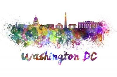 Canvas print Washington DC skyline in watercolor