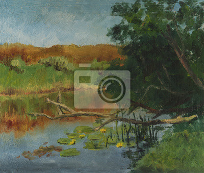Water lilies in the river. Summer landscape. Oil painting