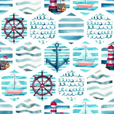 Canvas print Watercolor adventure seamless pattern in patchwork marine style.