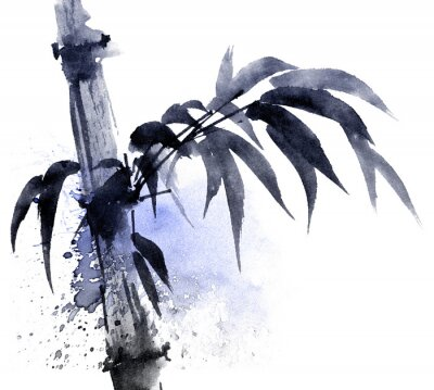 Canvas print Watercolor and ink illustration of bamboo with color watersplashes. Oriental traditional painting in style sumi-e, u-sin. Artistic illustration.