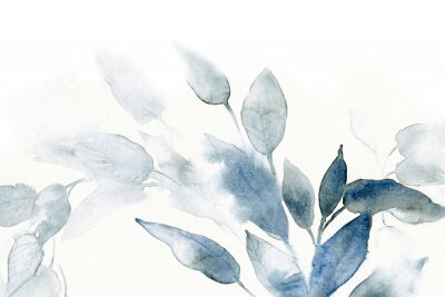 Canvas print watercolor background with leaves
