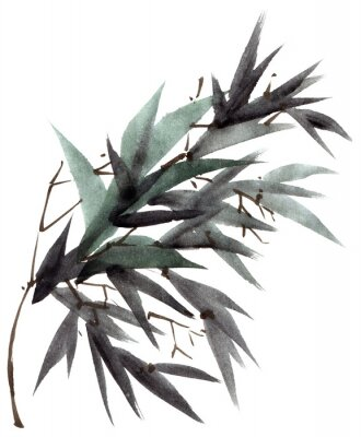 Canvas print Watercolor bamboo leaves branch