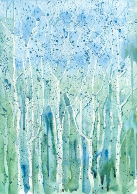 Canvas print Watercolor blue-green background (trees).