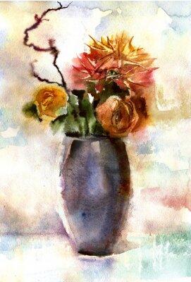 Canvas print Watercolor bouquet of flowers