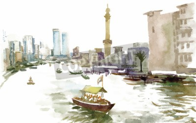 Canvas print Watercolor city canal with boat illustration vector.