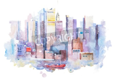 Canvas print watercolor drawing of New York cityscape, USA. Manhattan aquarelle painting.