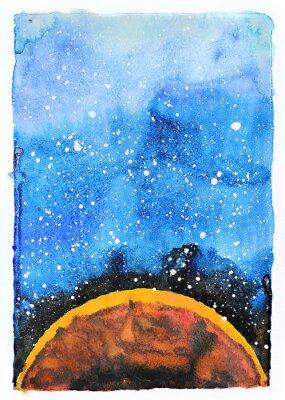 Canvas print Watercolor galaxy illustration. Planet Mars.