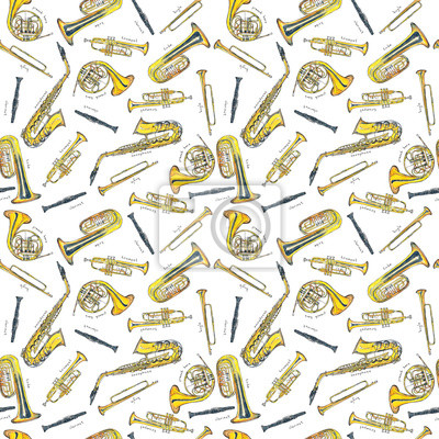 Watercolor Hand drawn sketch illustration seamless pattern background of Wind instruments set isolated on white