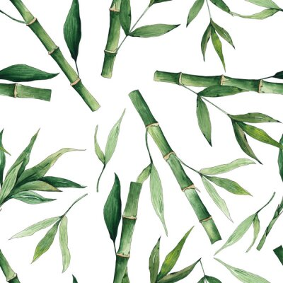Canvas print Watercolor handpainted seamless pattern with green tropical bamboo and leaves