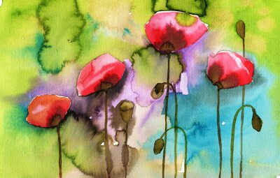 Canvas print watercolor illustration depicting spring flowers in the meadow