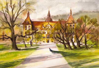 Canvas print Watercolor illustration of peacock in park and front facade of the Eggenberg castle in Graz, Styria, Austria