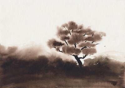 Watercolor illustration with peaceful calm asian landscape in minimalist style. Meditative nature background concept. Hand painted soothing serene sketch in one color. Dark moody countryside scenery.
