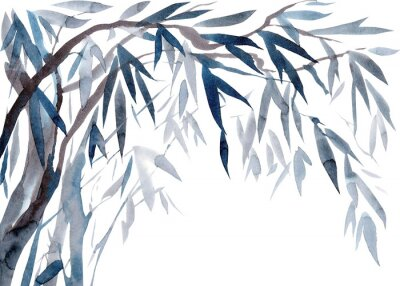Canvas print Watercolor Leaves and tree branches,   Traditional Japanese ink painting sumi-e.