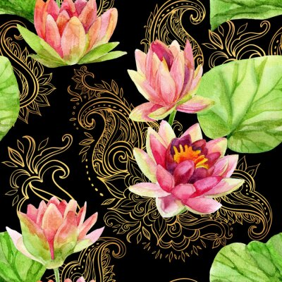 Canvas print watercolor lotus flower on golden ornament. Seamless pattern