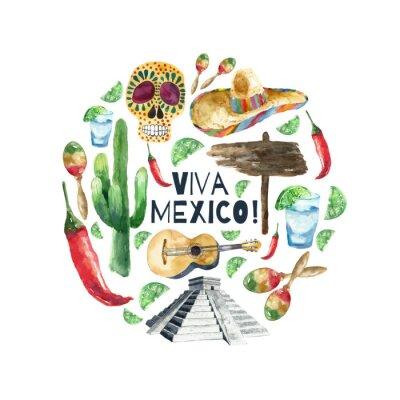 Canvas print Watercolor mexico icons.