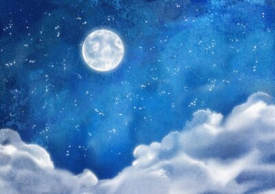 Canvas print Watercolor Nightly Clouds