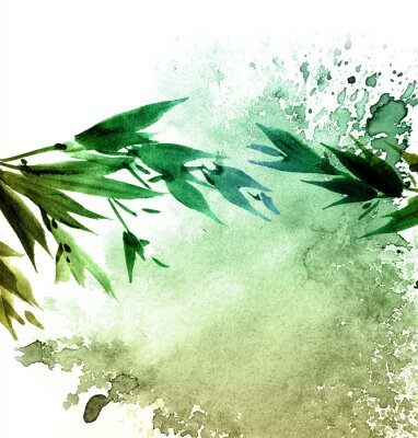 Canvas print Watercolor painted tree foliage