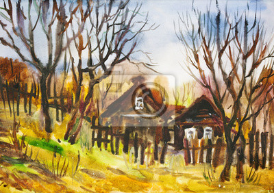 Watercolor painting: Autumn rural landscape with naked trees
