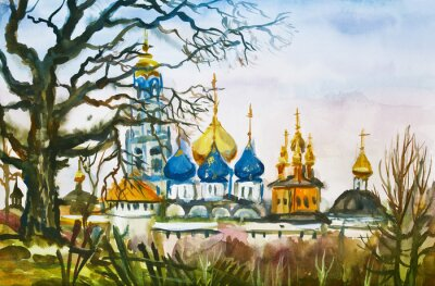 Watercolor painting: Autumn rural landscape with view of Trinity Lavra of St. Sergius (Sergiyev Posad, Moscow Region, Russia)