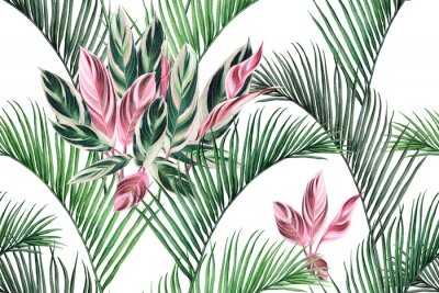 Canvas print Watercolor painting colorful coconut,green,pink leaves seamless pattern background.Watercolor hand drawn illustration tropical exotic leaf prints for wallpaper,textile Hawaii aloha summer style..