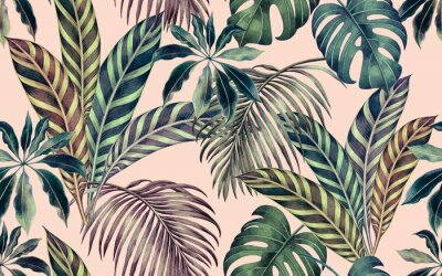 Canvas print Watercolor painting colorful tropical leaf,green leave seamless pattern background.Watercolor hand drawn illustration tropical exotic leaf prints for wallpaper,textile Hawaii aloha summer style..