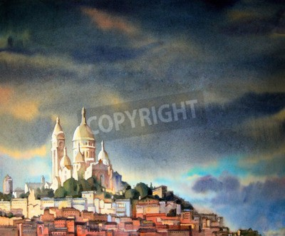 Canvas print Watercolor painting of the Montmartre, in Paris city, France.