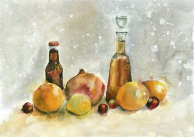 Canvas print Watercolor painting. Still life with oranges, pomegranate and bottles on vintage background.