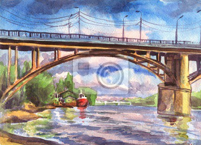 Canvas print Watercolor painting. The bridge over the river with the ships