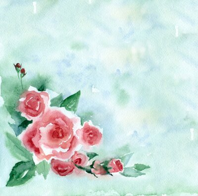 Canvas print Watercolor painting. Vintage bouquet of red roses on a green blurred background.