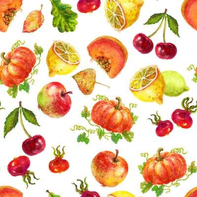 Watercolor pattern fruits and vegetables set-cherry pumpkin lemon briar apple