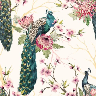 Canvas print Watercolor peacock pattern