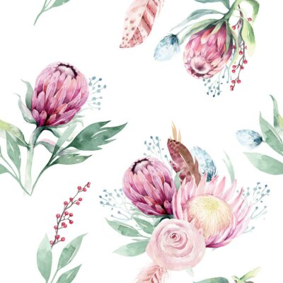Canvas print Watercolor protea seamless pattern. tropical leaves background. Textile texture. Hand drawn illustration