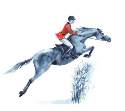Canvas print Watercolor rider and horse, jumping a hurdle in forest on white. Horseman in red jacket at jumping steeplechase competition. England equestrian sport. Hand drawing illustration.