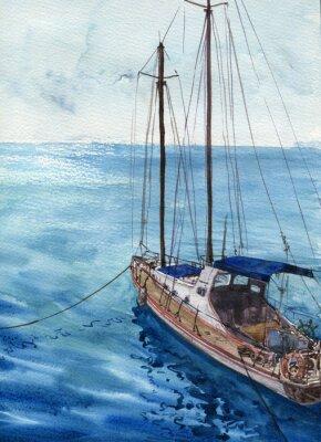 Canvas print watercolor sea landscape with boats