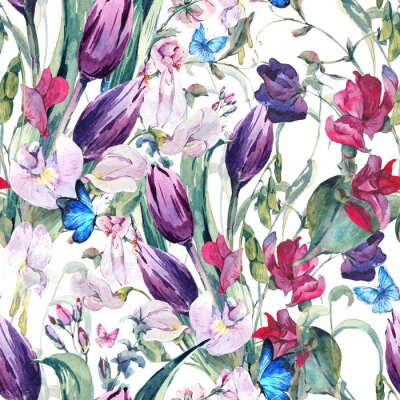 Canvas print Watercolor Seamless Background with Sweet Peas, Tulips