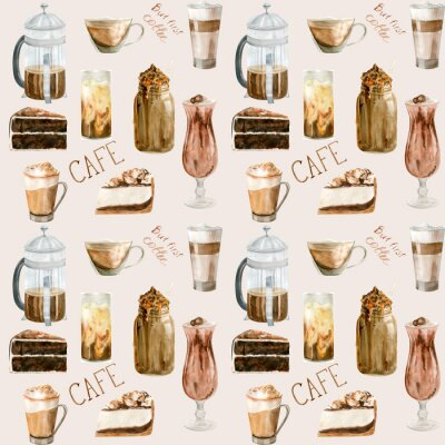Canvas print Watercolor seamless pattern with illustrations of coffee cup, coffee beans, coffee grinder, cappuccino, latte and desserts