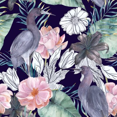 Canvas print Watercolor seamless pattern with ink elements. Exotic birds and flowers. Hand drawn illustration